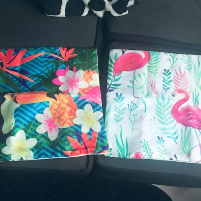 Throw pillow case flamingo