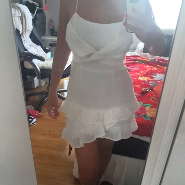 White wrap dress frill