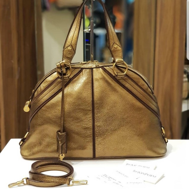 3a10fac76b YSL YVES SAINT LAURENT BRONZE GOLD MUSE DOME BAG