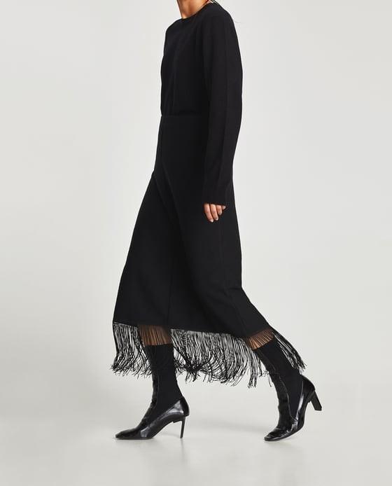 b012ba6655a Bnwt Zara black fringe midi skirt