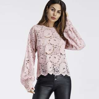 PO - Lantern Sleeve Hollow Lace Women Top