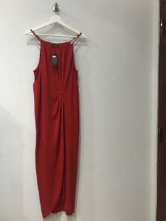 Bamboo Blonde Red Slit Dress