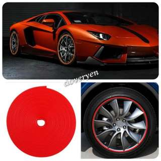 Car Van Motorcycle Scooter Rim Protector Rubber Tube  ★Red Color 8m Long  ★3M Adhesive Tape   ★8m In Length     15 - 19 Inch Wheel      8m Enough For 5 Wheels  ★20 - 23 Inch Wheel     8m Enough For 4 Wheels  ★Can Use As Decor Strip     In Stock