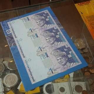 Rm1 banknotes uncut(bercantum) utk di jual