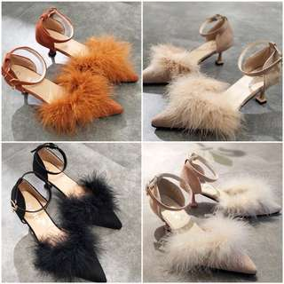 Ladies Suede Leather Pointed Toe Furry Buckled High Heels