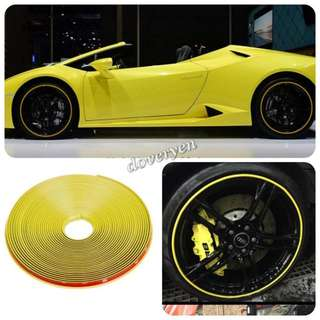 Car Van Motorcycle Scooter Rim Protector Rubber Tube  ★Yellow Color 8m Long  ★3M Adhesive Tape   ★8m Enough For 5 Wheels     10 - 19 Inch Wheel  ★8m Enough For 4 Wheels     20 - 23 Inch Wheel      ★Can Use As Decor Strip     In Stock