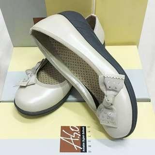A.S.O 阿瘦皮鞋 超值 高雅蝴蝶節淑女娃娃奈米氣墊鞋 杏色 鞋面/牛皮 鞋底/PU 符合人體工學 氣墊 台灣製造