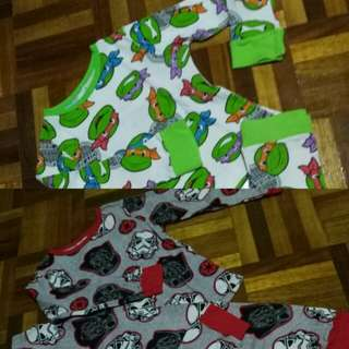 2 pyjamas (starwars & ninja turtle)