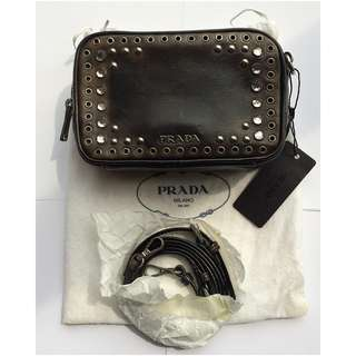 Prada  Ladies leather bag  鑲嵌水鑽 斜孭袋  @意大利製造 Made in Italy