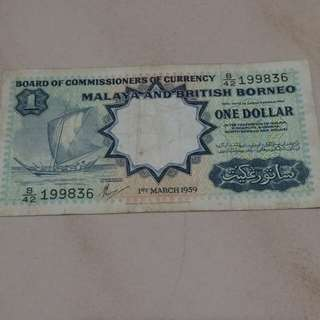 Malaya & Borneo dollar note