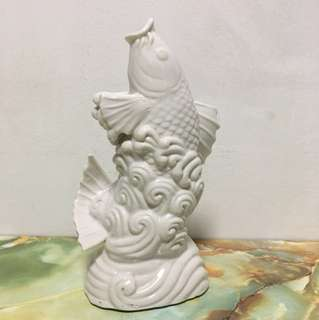 Vintage Porcelain White Koi Fish