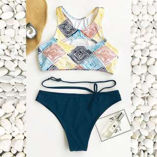 Henseley Abstract Design Two Piece Swimwear BA020