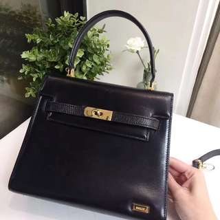 Bally Vintage 黑色 Box皮 Kelly Bag