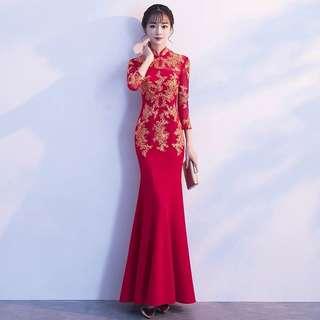 Ladies Bride Wedding Red Cheongsam Embroidered Mermaid Dress Gown