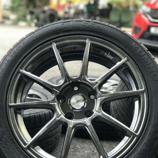 Ssr gtx01 17 inch sports rim civic fb tyre 99%. Sumpit tenuk dalam hutan, mas joko cepatin dong ini rim terhangat dipasaran!!!
