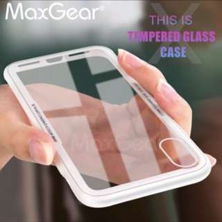 MaxGear For iPhone X Tempered Glass Case for iPhone 6 6S 7 8 Plus Back Cover for iPhoneX Transparent for iPhone X Luxury Case