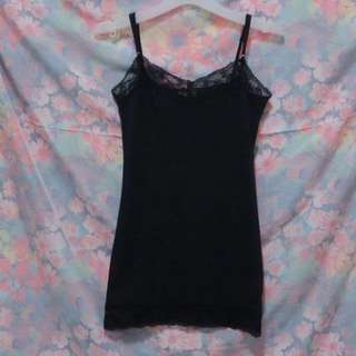 Zenana Outfitters Lace Hem Fitted Dress in Black