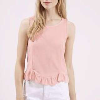 Topshop Ruffles Scallop Hem Sleeveless Top in Flesh Pink