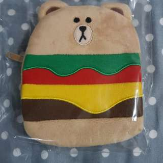 Authentic line brown bear hamburger coin pouch
