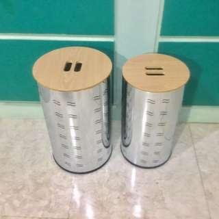 如相片2項商品/大小2合1電鍍 收納 置物 垃圾桶