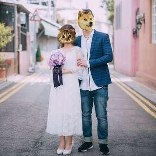 韓國白色lace pre-wedding連身裙