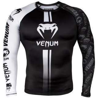 Authentic Venum Logo Rash Guard (Black/White) - Latest Design