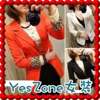 Yes Zone 日韓台女裝J5798新款豹紋翻邊長袖修身西裝外套 橙紅色 / 黑色 / 白色