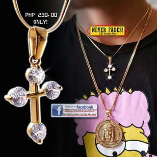 4 CZ Diamond ICED Gold Cross Pendant with Snake Chain Necklace