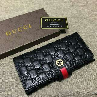GUCCI Long Wallet Leather Black Color