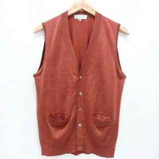 B30 Japan Vest Knit GINO PAOLI Stretch Red Brown Rompo Outer Outwear Luaran AL163