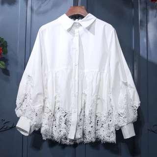 (More cols) Tulip Lace detailing Button blouse / shirt