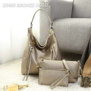 GUESS Hobo 3 in 1 Set Bag Bronze Color