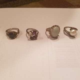 4 Sterling set rings