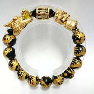 Triple Lucky Charms Bracelet : Dragons Rainbow Obsidian Gemstones (12mm)  Bracelet with gold-plated stainless steel Dragon, Abacus and Pixiu Charms
