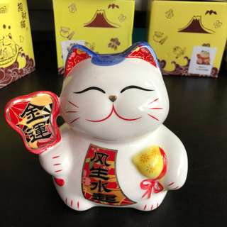 "Fortune Cat  6"" with cushion (Coin Bank)"