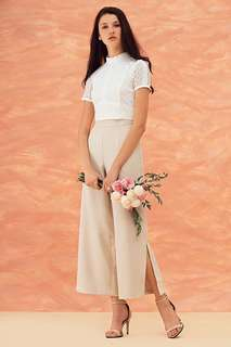TheClosetLover Darine Slit Pants in Nude