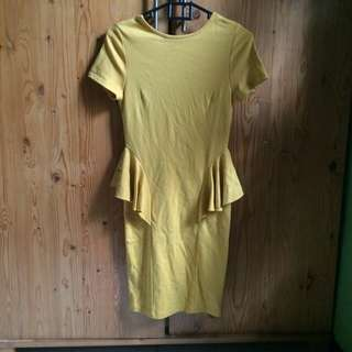 Dress peplum kuning