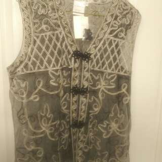 New Ladies Embroidered Vest Size Large
