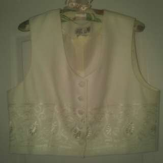Pretty Cream Embroidered Vest, Size 14