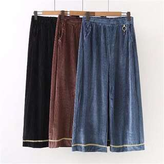 (XL~3XL) 2018 spring new European and American style fashion trousers corduroy ring buckle wide leg pants