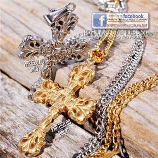 GOLD Byzantine CROSS/CRUCIFIX Pendant with Long Chain Necklace