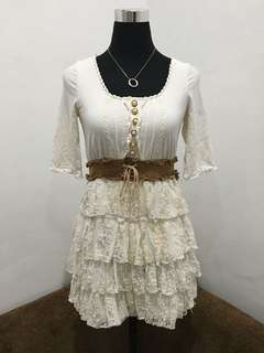 White Lacey Dress With Garterized Belt