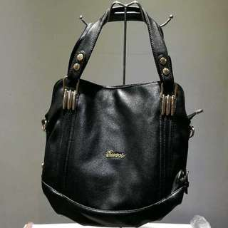 Brand new Women's large black faux leather fashion handbag with sling