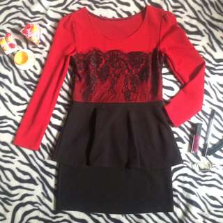 Dress peplum brokat hitam
