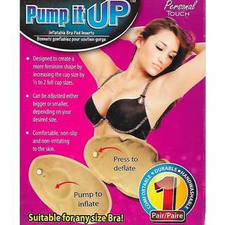 PUMP IT UP Inflatable Air Bra Pad Inserts Breast Lift Enhancers adjust Push up cleavage increase cup size