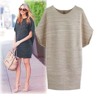 (L~4XL) 2018 spring and summer plus size women's loose round neck short sleeve dress
