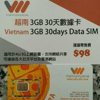 Vietnam 越南 上網卡 30日 3G 3GB 數據卡 SIM Card