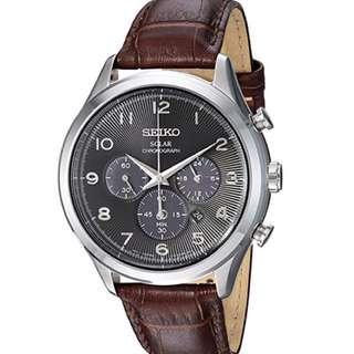 seiko ssc565 啡皮鋼錶