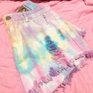 TIE DYE PASTEL HIGH WAIST DENIM SHORTS
