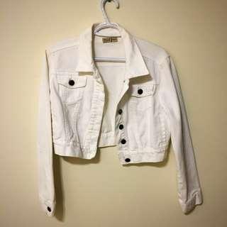Midi White Jean Jacket